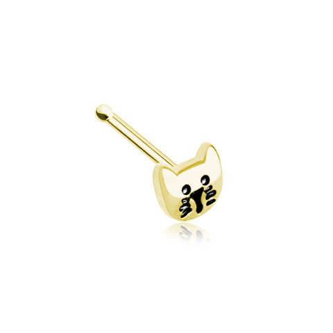 Kitty Cat Golden Nose Stud Ring Nose Bone 20ga Body Jewelry - BodyDazzle