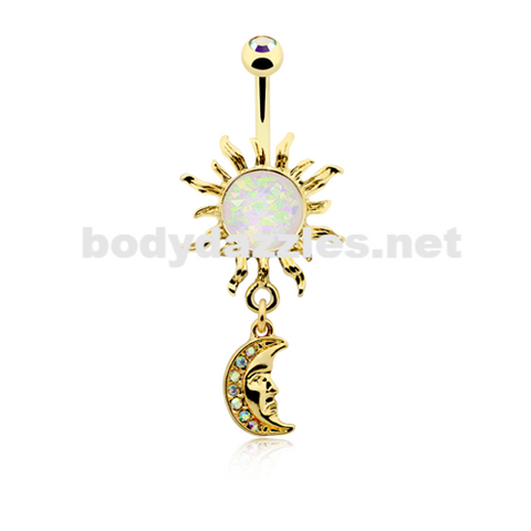 Golden Opal Celestial Sun Moon Belly Button Ring 14ga Navel Ring Body Jewelry - BodyDazzle