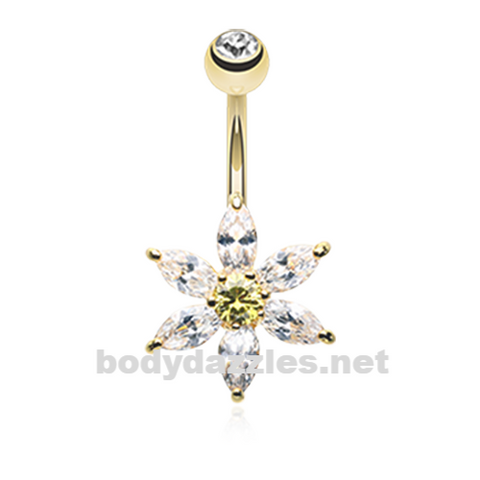 Golden Glistening Flower Bliss Belly Button Ring Stainless Steel Body Jewelry - BodyDazzle
