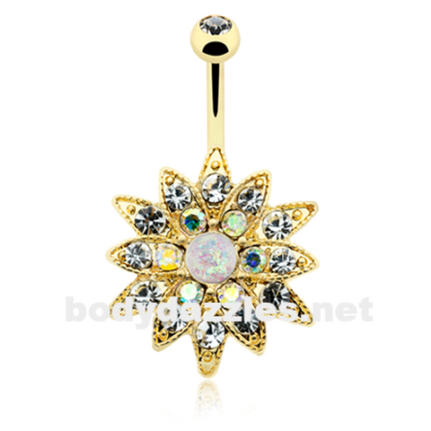 Golden Opal Chrysanthemum Flower Belly Button Ring 14ga Navel Ring Body Jewelry - BodyDazzle