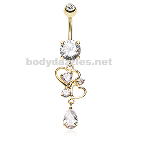 Golden Hearts Elegant Belly Button Ring Stainless Steel Body Jewelry - BodyDazzle