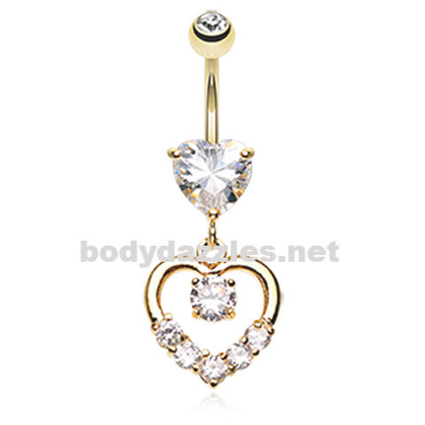 Golden Lusterous Double Heart Belly Button Ring Stainless Steel Body Jewelry - BodyDazzle