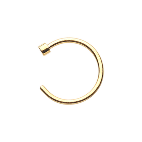Gold PVD Basic Nose Hoop Ring  20ga Body Jewelry Steel - BodyDazzle