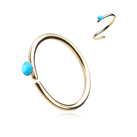 Gold and Turquoise Bendable Nose Ring Nose Hoop  20ga Body Jewelry Steel - BodyDazzle