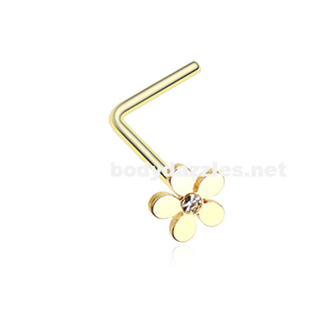Golden Grand Plumeria L-Shaped Nose Ring 20ga Body Jewelry Nose Bone Flower Nose Ring - BodyDazzle