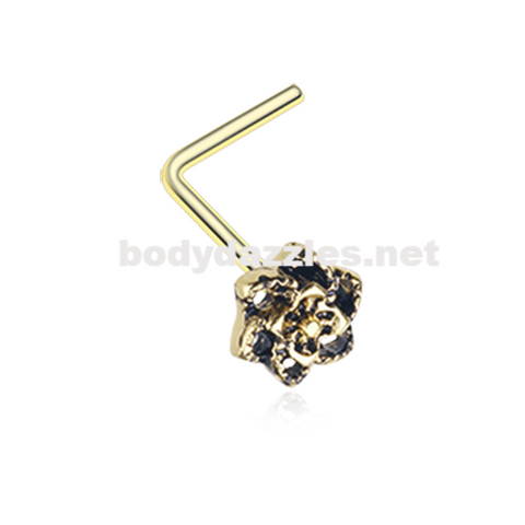 Golden Camellia Flower Filigree Icon L-Shaped Nose Ring 20ga Body Jewelry - BodyDazzle