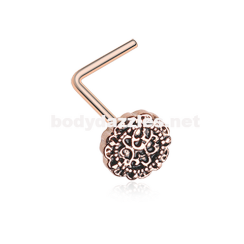 Rose Gold Mandela Filigree Icon L-Shaped Nose Ring 20ga Body Jewelry - BodyDazzle