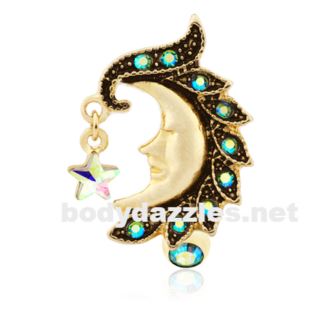 Golden Heavenly Moon Face Reverse Drop Top Belly Button Ring 14ga Navel Ring Body Jewelry - BodyDazzle