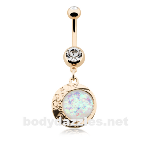 Golden Eclipse Sun Opal Moon Belly Button Ring 14ga Navel Ring - BodyDazzle