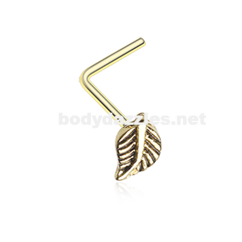 Golden Vintage Leaf Icon L-Shaped Nose Ring 20ga Body Jewelry - BodyDazzle