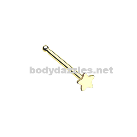 Golden Steel Star Nose Stud Ring 20ga Body Jewelry