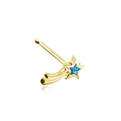 Golden Wishing Opal Shooting Star Nose Stud Ring Nose Bone 20ga Body Jewelry - BodyDazzle