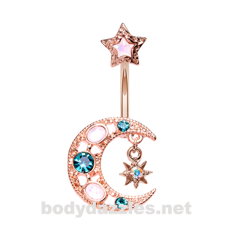 Rose Gold Stellar Opal Moon Star Belly Button Ring Stainless Steel Body Jewelry - BodyDazzle