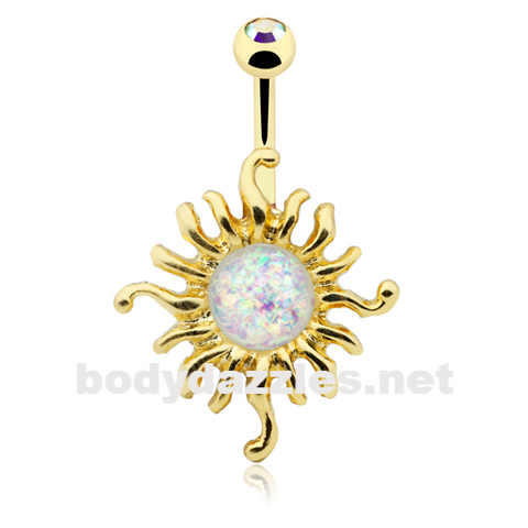 Golden Opal Sun Illuminating Belly Button Ring 14ga Navel Ring Body Jewelry - BodyDazzle
