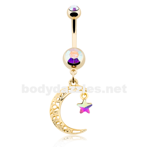 Golden Filigree Moon Star Sparkle Belly Button Ring Navel Ring 14ga - BodyDazzle