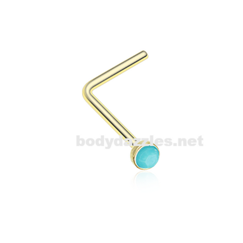 Gold Turquoise Stone Nose Stud Ring Nose Ring Nose L Bend 20ga Body Jewelry - BodyDazzle