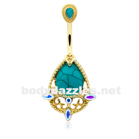 Golden Elegant Turquoise Vintage Aurora Belly Button Ring 14ga Navel Ring - BodyDazzle