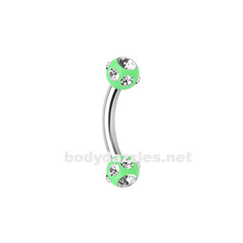 Green Gem Ball Acrylic Curved Barbell Eyebrow Ring  Rook Daith Ring 16ga Body Jewelry - BodyDazzle