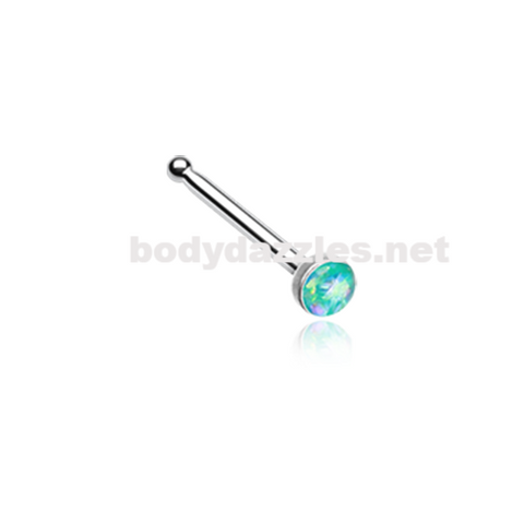 Teal Opal Sparkle Nose Stud Ring Nose Ring  20ga Body Jewelry Surgical Steel - BodyDazzle