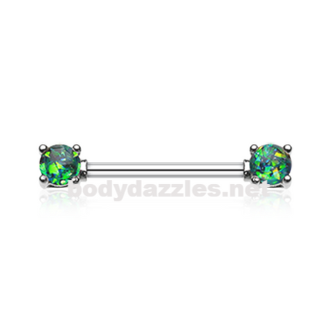 Pair of Green Opal Glitter Prong Steel Nipple Barbell Nipple Ring
