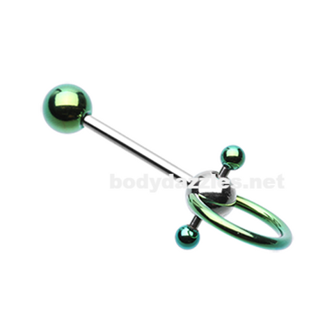 Green Double Ball Slave Barbell Ring Tongue Ring  14ga Surgical Steel - BodyDazzle