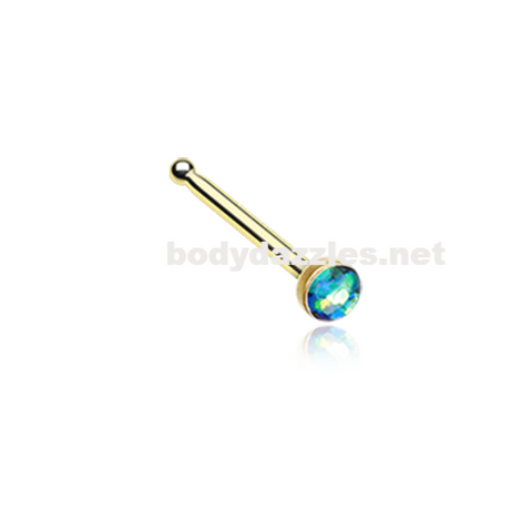 Gold Green Opal Sparkle Nose Stud Ring Nose Ring  20ga Body Jewelry Surgical Steel - BodyDazzle