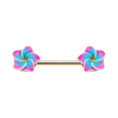 Tropical Plumeria Flower Nipple Barbell  Ring 14ga Nipple Rings