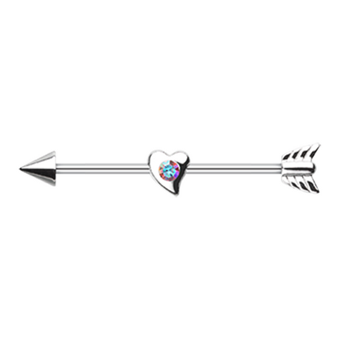 Love Arrow Industrial Barbell 14ga Surgical Stainless Body Jewelry - BodyDazzle