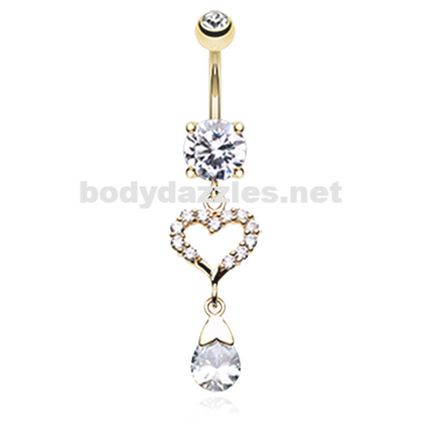Rose Gold Luster Heart Belly Button Ring Navel Ring 14ga Surgical Steel