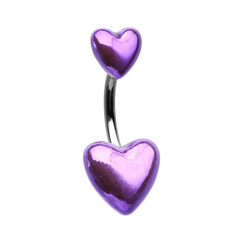 Purple Metallic Two Hearts Belly Button Ring 14ga Surgical Steel Navel Ring