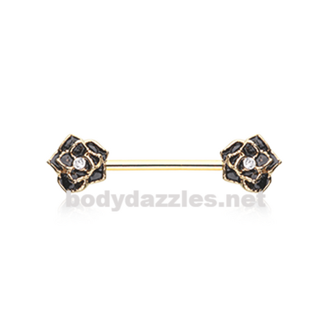 Pair of Golden Classic Black Rose Sparkle Nipple Barbell Ring 14ga Body Jewelry