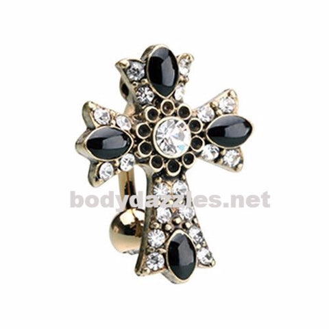Gold Antique Cross Drop Top Reverse Belly Button Ring 14ga Navel Ring Surgical Steel Body Jewelry