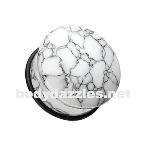 Convex Howlite Single Flared Ear Gauge Plug Body Jewelry - BodyDazzle
