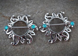 Pair Of Swirling Sunburst Tribal Shield Nipple Ring 316L Surgical Steel Barbell Body Jewelry - BodyDazzle - 2