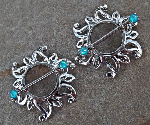 Pair Of Swirling Sunburst Tribal Shield Nipple Ring 316L Surgical Steel Barbell Body Jewelry - BodyDazzle - 1