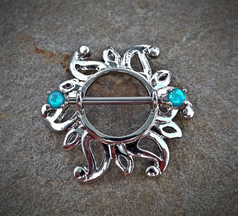 Single Swirling Sunburst Tribal Shield Nipple Ring 316L Surgical Steel Barbell Body Jewelry - BodyDazzle - 1