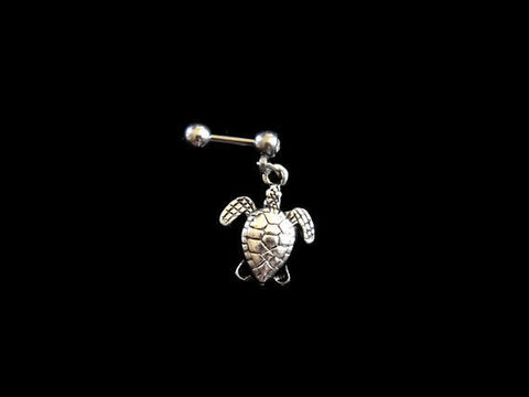 Turtle Cartilage 16ga Tragus Helix Earring Body Jewelry 316L Surgical Stainless Steel Dangling Turtle - BodyDazzle - 1