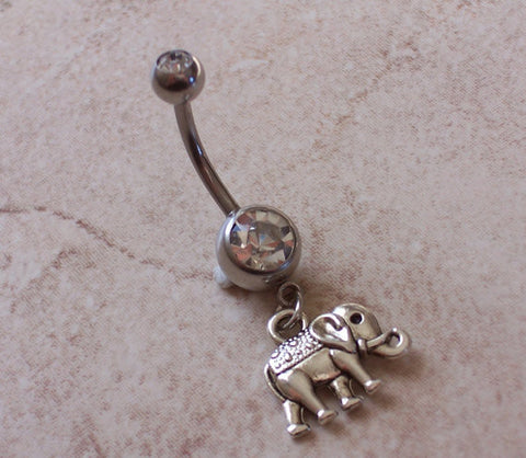 Elephant Belly Ring Navel Ring Body Jewelry 14ga Surgical Steel - BodyDazzle - 1