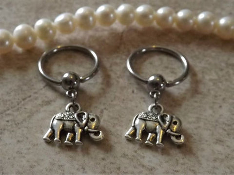 Elephant Captive Hoop Nipple Ring 14ga Belly/ Navel Earring Body Jewelry - BodyDazzle - 1