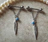 Feather and Blue Bead Nipple Ring 14ga Barbell Body Jewelry Stainless Steel 1 Set - BodyDazzle - 1