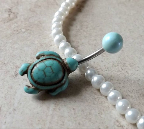 Turquoise Turtle Belly Ring Navel Ring Mint Green Ball Belly Ring Body Jewelry - BodyDazzle - 1