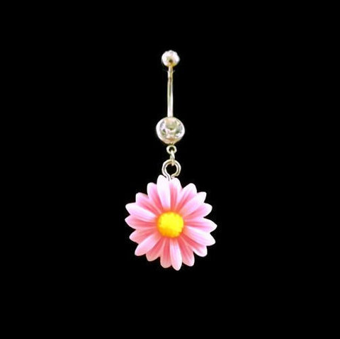 Daisy Pink Belly Ring Flower With White Rhinestone Body Jewelry - BodyDazzle