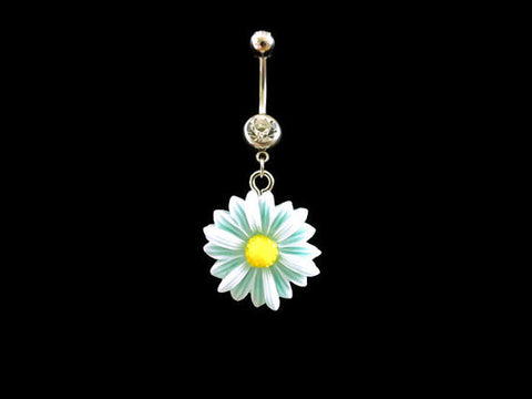 Daisy Blue Belly Ring Flower With White Rhinestone Body Jewelry - BodyDazzle