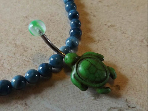 Green Turtle Belly Ring Navel Ring Belly Ring Body Jewelry - BodyDazzle
