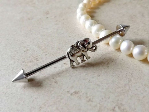 Industrial Barbell Tiny Elephant Body Jewelry Ear Jewelry Double Piercing - BodyDazzle