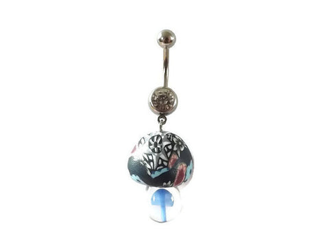 Fimo and Glass Mushroom Blue Bottom Belly Ring Body Jewelry 14ga - BodyDazzle - 1