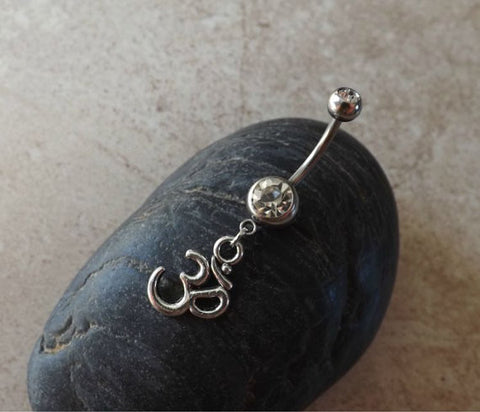 Ohm om Belly Ring 14ga Navel Ring Body Jewelry - BodyDazzle - 1