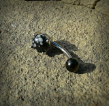 Snow Obsidian Prong Set Belly Button Ring Navel Ring Belly Piercing 14ga 316L Surgical Stainless Steel Body Jewelry