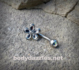Silver Flower Cute Belly Button Ring Navel Ring Belly Piercing 14ga 316L Surgical Stainless Steel Body Jewelry