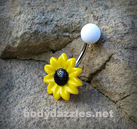 Daisy Belly Button Ring White Top Body Jewelry 14ga Surgical Stainless Steel Navel Ring